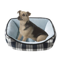 JLA Pets Soft Touch Black Plaid Reversible Rectangular Cuddler, 21 by 25-Inch