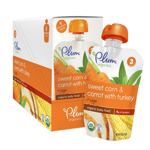 Plum Organics Baby Stage 3 Organics Baby Food Sweet Corn & Carrot with Turkey and Sage