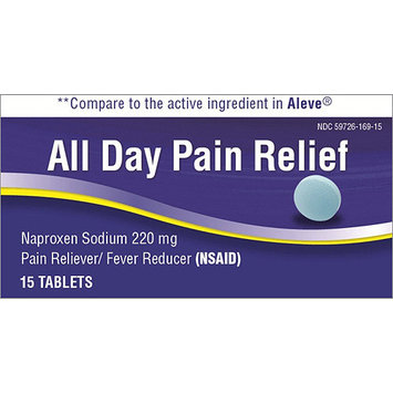 All Day Naproxen Sodium Pain Reliever/Fever Reducer Tablets, 220mg, 15 count