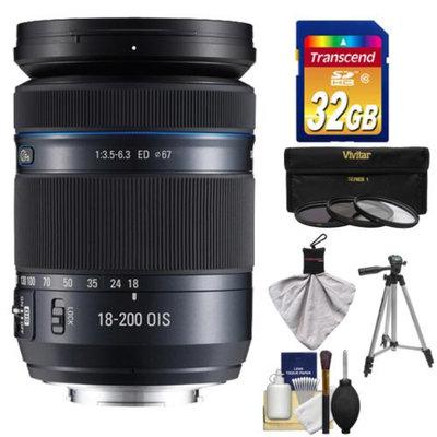 Samsung 18-200mm f/3.5-6.3 NX Movie Pro ED OIS Zoom Lens (Black) with 3 UV/ND8/CPL Filters + 32GB Card + Tripod + Kit for Galaxy NX, NX30, NX210, NX300, NX2000, NX3000 Cameras