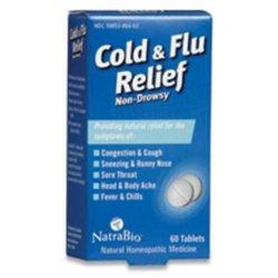 tra-bio NatraBio Cold and Flu Relief Non-Drowsy - 60 Tablets