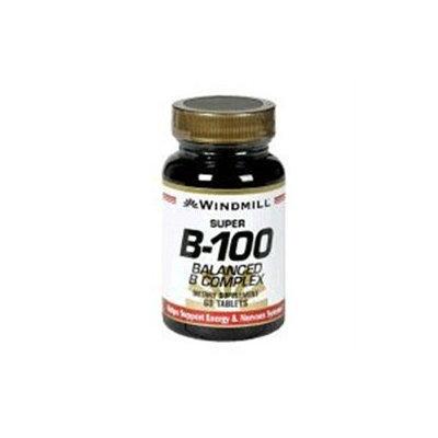 Vitamin Super B-100, Balanced B Complex, 60 Tablets, Windmill Health Products