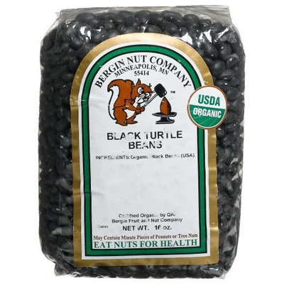 Bergin Nut Company Black Turtle Beans (Organic Black Beans), 16-Ounce Bags (Pack of 6)