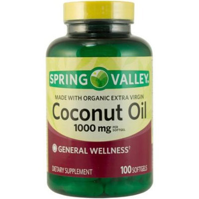 Spring Valley Coconut Oil Dietary Supplement, 1000mg, 100 count