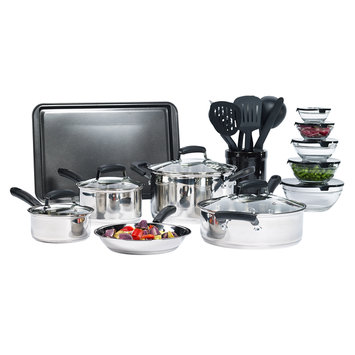 Essential Home 25 Piece Stainless Steel Mega Cookware Set - TABLETOPS UNLIMITED, INC.
