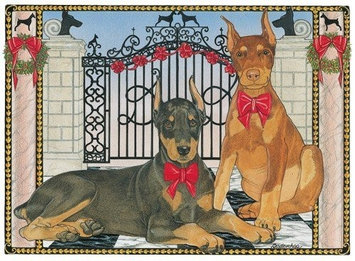 Pipsqueak Productions C865 Holiday Boxed Cards- Doberman