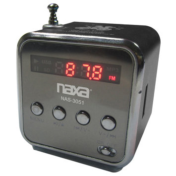 Naxa NAS3051BK Portable Speaker With USB Fm Radio & Led Display -black