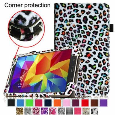 Fintie Folio Premium Vegan Leather Case Cover for Samsung Galaxy Tab 4 8.0 inch Tablet, Leopard Rainbow