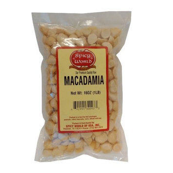 Spicy World Macadamia Nuts Halves & Pieces (Unsalted) 1 Pound Bag - New!