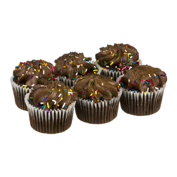 Bakery Cupcakes Chocolate with Chocolate Icing & Sprinkles - 6 CT