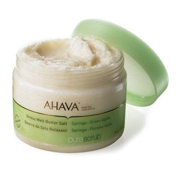 AHAVA Pure Scrub Stress Melt Butter Salt, Syringa - Green Apple, 12.3 oz.