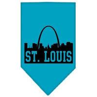 Mirage Pet Products 6684 SMTQ St Louis Skyline Screen Print Bandana Turquoise Small