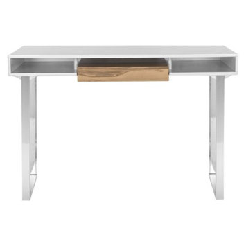 Writing Desk: Safavieh Writing Desk White Medium Brown (Oak)