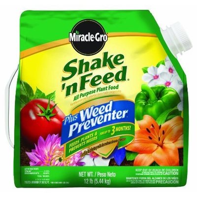 Flagline Miracle-Gro 105845 Shake 'n Feed All Purpose Plant Food Plus Weed Preventer, 12-Pound (Slow Release Plant Fertilizer Plus Weed Preventer) (Discontinued by Manufacturer)