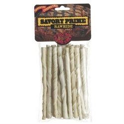 Savory Prime White Rawhide Twist Sticks - 5