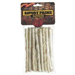 Savory Prime White Rawhide Twist Sticks - 5