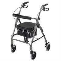 Mabis 501-2012-4100 Ultra Lightweight Aluminum Rollator - Curved Backrest - Titanium