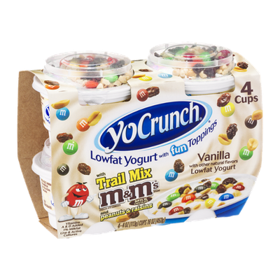 YoCrunch Lowfat Yogurt With Fun Toppings Vanilla Trail Mix M & M's Peanuts & Raisins - 4 CT