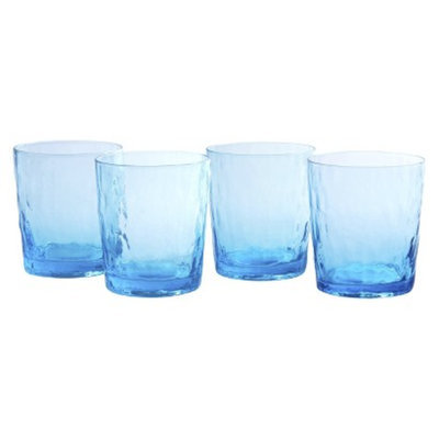 Artland Ripple Double Old Fashioned Glass Set of 4 - Turquoise (13 oz)