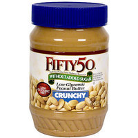 Fifty 50 Low Glycemic Crunchy Peanut Butter, 18 oz (Pack of 6)