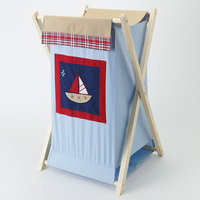 Bacati Stripes & Plaids Hamper (Blue)