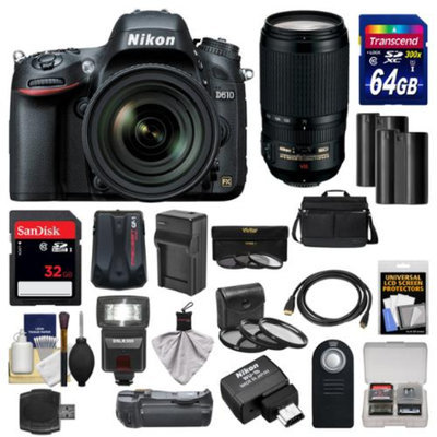 Nikon D610 Digital SLR Camera with 24-85mm & 70-300mm VR Lenses, WU-1b, Bag & 32GB Card with 64GB Card + Flash + Grip + Batteries & Charger + Filters + Remote Kit