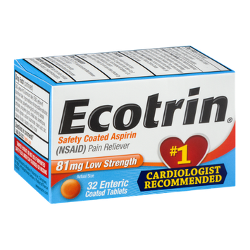 Ecotrin Safety Coated Aspirin Tablets Low Strength - 32 CT