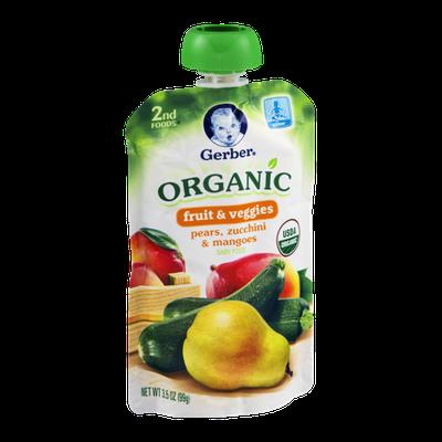 Gerber 2nd Foods Organic Baby Food Fruit & Veggies Pears, Zucchini & Mangoes