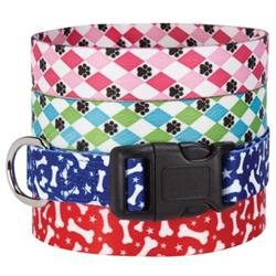 Casual Canine Pooch Patterns Collar - Red Bone, 18 - 26 in.