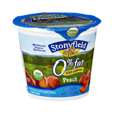 Stonyfield Organic 0% Fat Peach Smooth and Creamy Nonfat Yogurt