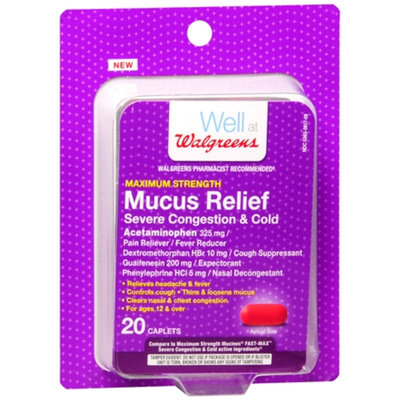 Walgreens Mucus Relief Severe Cough/Cold Capsules, 20 ea