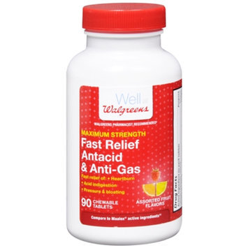 Walgreens Fast Relief Antacid & Anti-Gas Chewable Tablets, Assorted Fruit, 90 ea