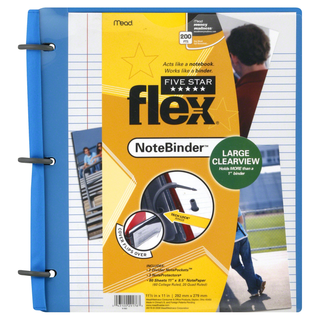 Mead Five Star Flex Note Binder, Clearview, Large, 1 binder - MEAD PRODUCTS