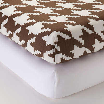 Bacati Metro Fitted Crib Sheet Pack One Size (Brown/White)
