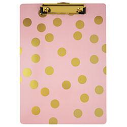 Divoga(R) Clip Board, 12 1/2in.H x 9in.W x 5/8in.D, Pink/Gold Dots