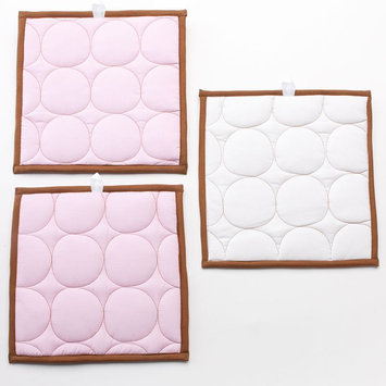 Bacati 3-pc. Quilted Pink & Chocolate Circles Wall Hangings (Pink/Brown)