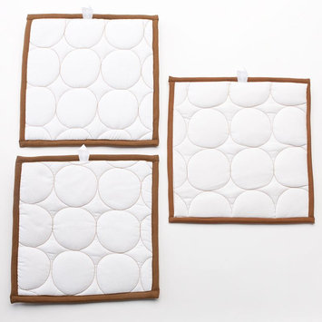 Bacati Quilted Circles 3 Piece Wall Hangings in White and Chocolate