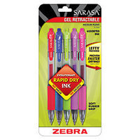 Zebra(R) Sarasa(R) Retractable Gel Pens, Assorted Colors, Pack Of 5
