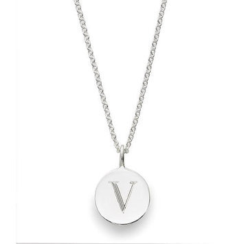 Sarah Chloe Sterling Silver Engraved V on 16 inch Cable Chain