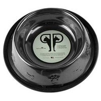 Platinum Pets Stainless Steel Embossed Non-Tip Puppy Bowl - Black