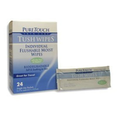 Pure Touch Skin Care Pure Touch Tush Wipes for Adults 24 Individual Flushable Moist Wipes / 6 boxes 144 Single-Use-Packets