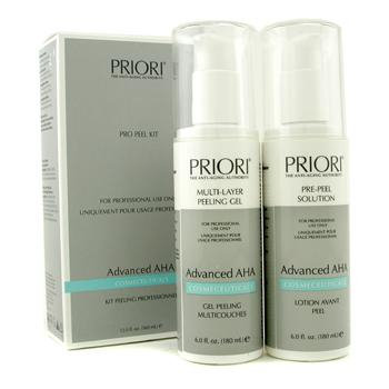 Priori 12507811514 Advanced AHA PRO Peel Kit Salon Size: PrePeel Solution plus MultiLayer Peeling Gel 2x180ml6oz