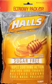 HALLS Sugar Free Honey-Lemon Flavor Suppressant Drops