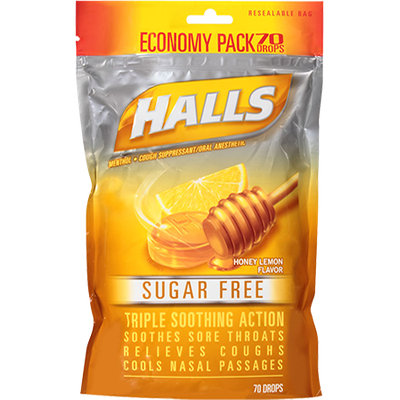 HALLS Sugar Free Honey-Lemon Flavor Suppressant Drops