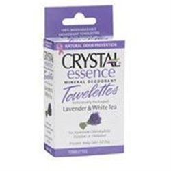 Crystal Essence Mineral Deodorant Towelettes, Lavender & White Tea, 48 Pack, Crystal Body Deodorant