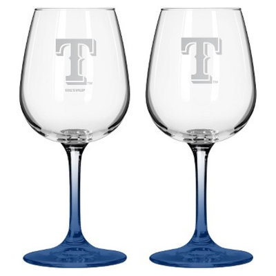Boelter Brands MLB Rangers Set of 2 Wine Glass - 12oz