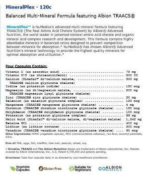NuMedica MineralPlex 120 Vegetable Capsules