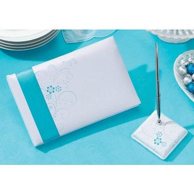 Lillian Rose 10-Inch Aqua Floral Guest Book and 3.25-Inch Pen Set