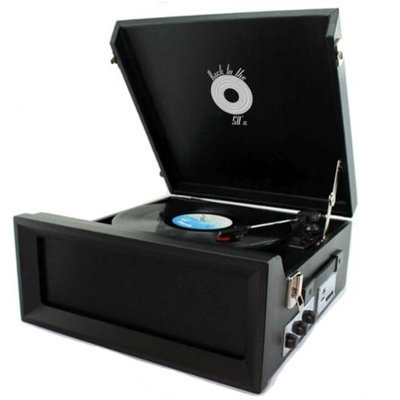 Back to the 50's Portable Vinyl 3 Speed Turntable