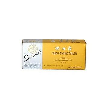 STEAMED TIENCHI GINSENG TABLETS (SHU TIAN QI)500mg X 36 tablets per box.